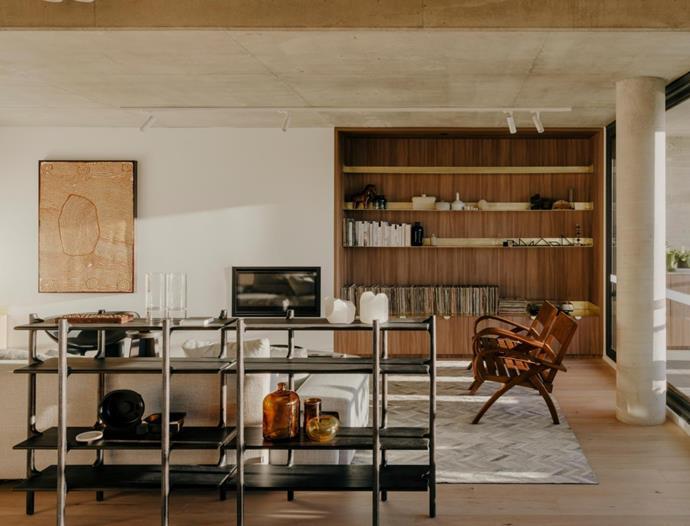 Monica Forster for Zanat 'Tara' shelving unit works to separate living zones. 'Lowland' sofa designed by Patricia Urquiola for Moroso. Artwork by Nancy Carnegie.