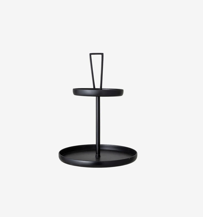 """Bloomingville Black Metal Tiered Tray Stand, $165, [Simple Form](https://simpleform.com.au/products/bloomingville-black-metal-tiered-display-tray-stand#:~:text=SIMPLE%20FORM.%20-%20Bloomingville%20-%20Black%20Metal%20Tiered%20Tray%20Stand
