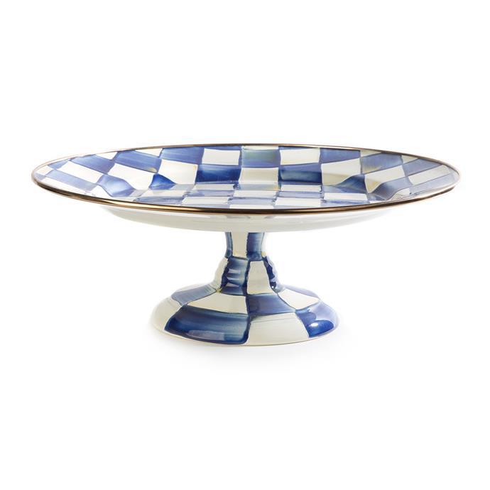 "Mackenzie-Childs Royal Check Pedestal Platter - Small, $133, [Amara](https://www.amara.com/us/products/royal-check-pedestal-platter-small#:~:text=Next|target=""_blank""|rel=""nofollow"")"