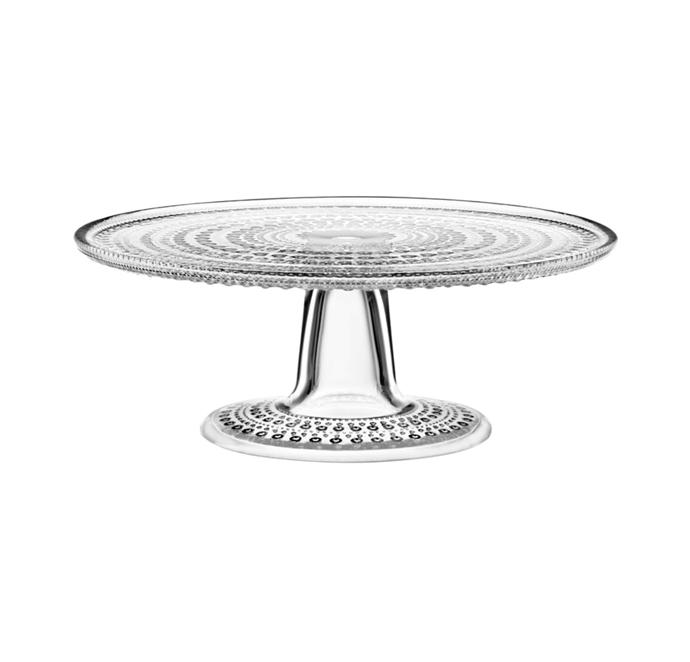 "'Kastehelmi' cake stand in Clear, $109/24cm, [Iittala](https://www.iittala.com.au/kastehelmi-cake-stand-24cm-clear.html|target=""_blank""|rel=""nofollow"")"