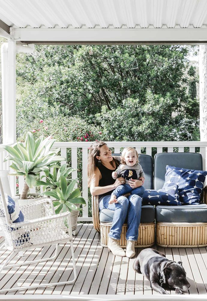 **Exterior** Homeowner Amber with youngest child Ash and family dog George.