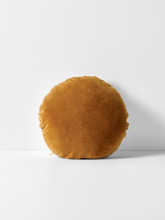 "Luxury velvet 45cm round cushion in ginger, $69.95, [Aura Home](https://www.aurahome.com.au/luxury-velvet-round-cushion-ginger|target=""_blank""|rel=""nofollow"")"