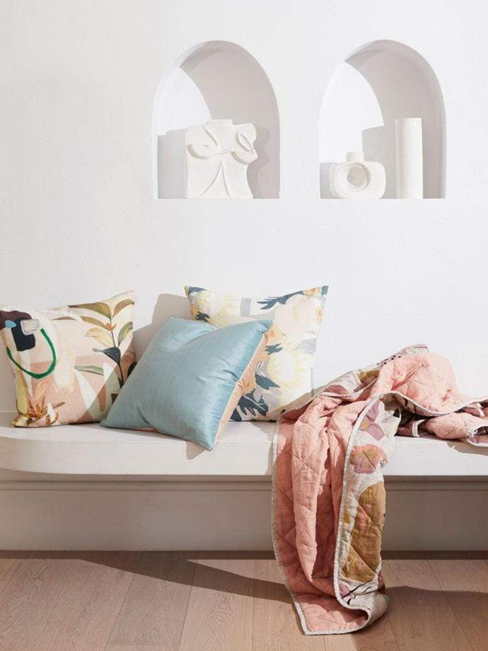 "Small Time Hotness Art Cushion, $139, [Greenhouse Interiors](https://greenhouseinteriors.com.au/collections/cushions/products/small-time-hotness-art-cushion|target=""_blank""|rel=""nofollow"")"