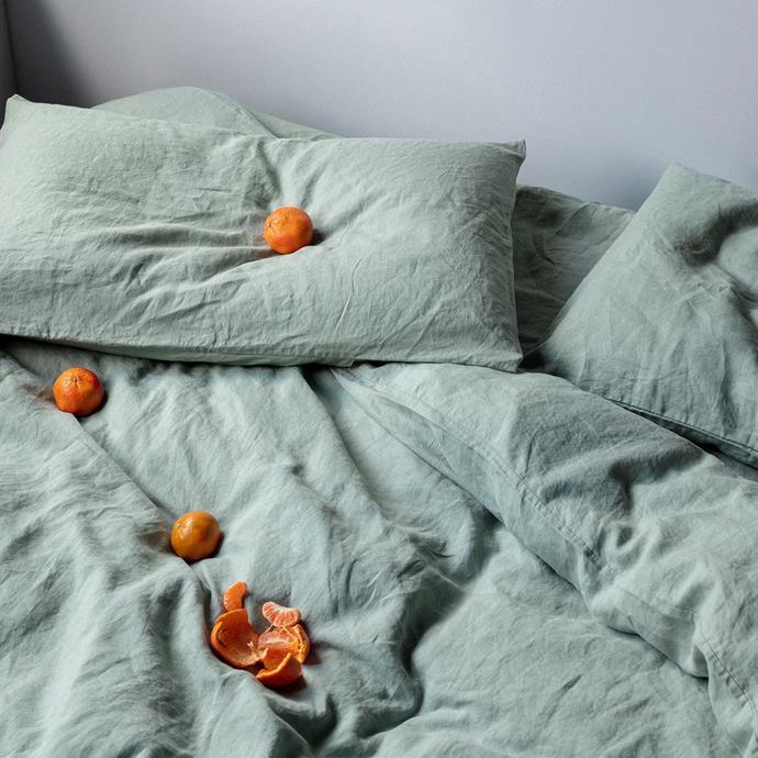 "Linen Duvet Cover Set - Sage, $365, [Cultiver](https://cultiver.com.au/products/linen-duvet-cover-set-sage|target=""_blank""|rel=""nofollow"")"
