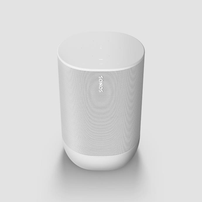 "Sonos 'Move', $649, [Sonos](https://www.sonos.com/en-au/shop/move-white.html?gclid=Cj0KCQjwp4j6BRCRARIsAGq4yMGgMhpVcsZo8sAY9u77yS2Yhc0-K0IEqpacudKxqkAQvQ5L4KKhjyUaAhC-EALw_wcB&gclsrc=aw.ds|target=""_blank""|rel=""nofollow"")"