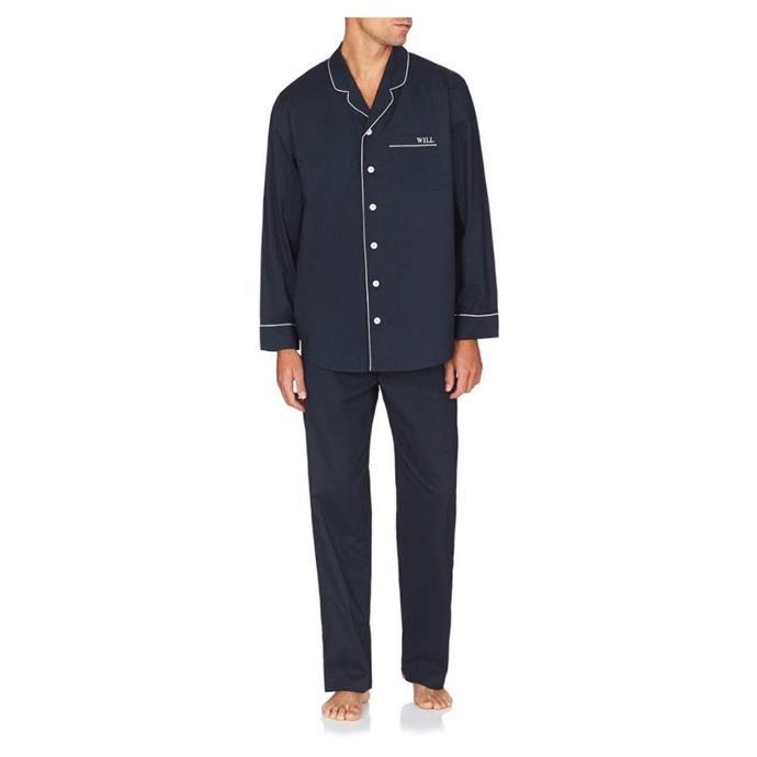 "Mens monogrammed pyjama set, $159, [Jasmine and Will](https://www.jasmineandwill.com/mens-monogrammed-pyjama-set-navy-with-white-trim-l.html|target=""_blank""|rel=""nofollow"")"