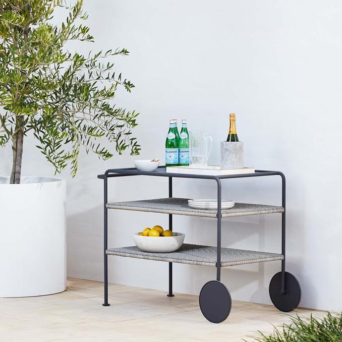 """Malmo Outdoor Bar Trolley, $995, [Coco Republic](https://www.cocorepublic.com.au/malmo-outdoor-bar-trolley target=""""_blank"""" rel=""""nofollow"""")"""