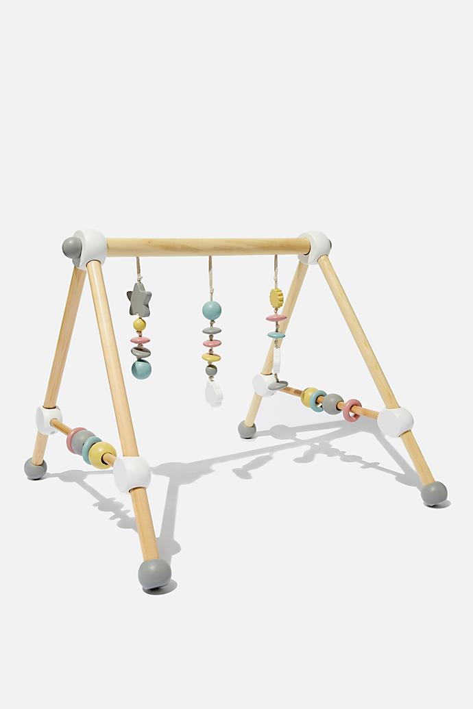 """Wooden Play Gym, $59.99, [Cotton On Kids](https://cottonon.com/AU/wooden-play-gym/9356067318819.html