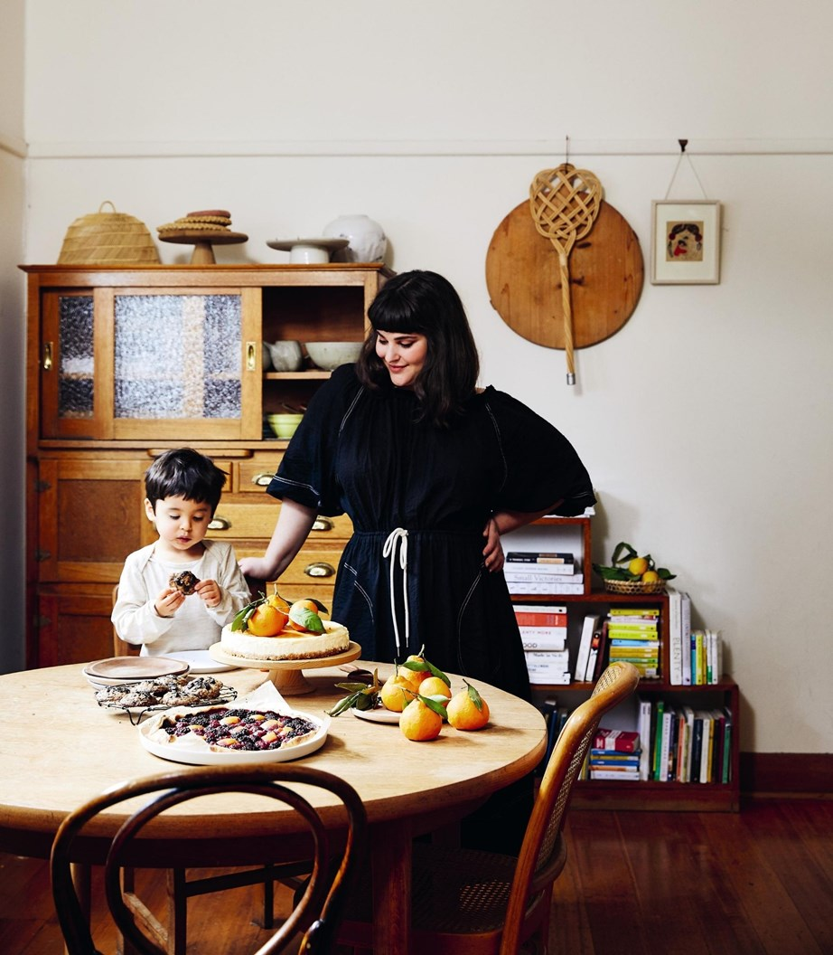 Julia's son Haruki loves helping out in the kitchen.