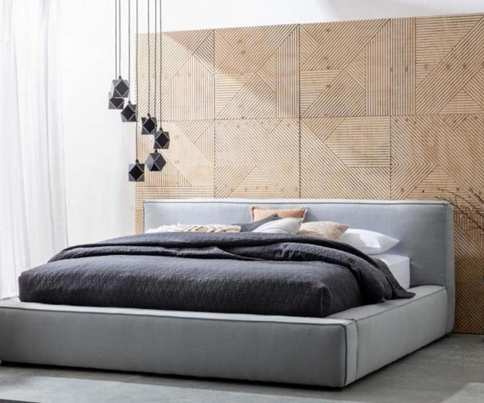 "Morris King Bed - Chambray, [Domayne](https://www.domayne.com.au/morris-king-bed-chambray.html|target=""_blank""