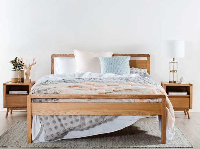 "Denmark Bed Frame, $799, [Snooze](https://www.snooze.com.au/products/denmark-bed-frame?variant=6905615679521|target=""_blank""