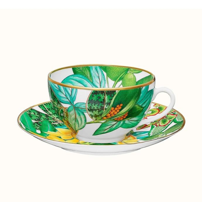 """Passifolia breakfast cup and saucer, $595, [Hermès](https://www.hermes.com/au/en/product/passifolia-breakfast-cup-and-saucer-P044015P/