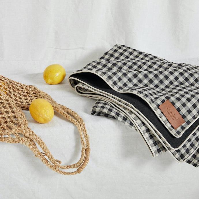 "Gingham Linen Picnic Rug, $179.95, [Carte Home](https://cartehome.com.au/products/gingham-linen-picnic-rug|target=""_blank""|rel=""nofollow"")"