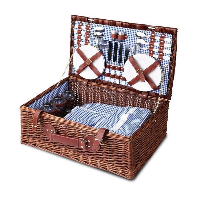 "Wicker Picnic Basket With Cooler Bag & Blanket, $190, [Picnic Baskets Australia](https://www.picnicbasketsaustralia.com.au/product/picnic-basket-4-person-wicker-with-cooler-bag-blanket-style-2/|target=""_blank""|rel=""nofollow"")"