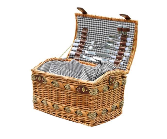 "Wicker 4 Person Picnic Basket, $90.99, [Catch](https://www.catch.com.au/product/wicker-4-person-picnic-basket-baskets-set-outdoor-blanket-deluxe-gift-storage-2310479/|target=""_blank""|rel=""nofollow"")"