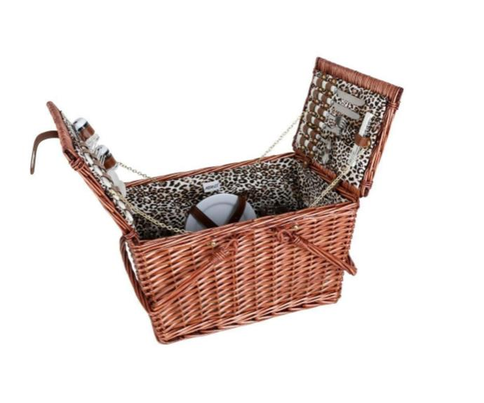 """Avanti 4 Person Picnic Basket with Handle in Leopard Print, $129, [Soko & Co](https://soko.com.au/products/avanti-4-person-picnic-basket-with-handle-leopard-print