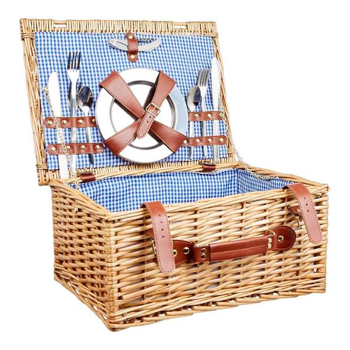 "Spinifex 4 Person Picnic Basket, $139.99, [Anaconda](https://www.anacondastores.com/camping-hiking/camp-furniture/kitchens/spinifex-4-person-picnic-basket/90120587|target=""_blank""|rel=""nofollow"")"