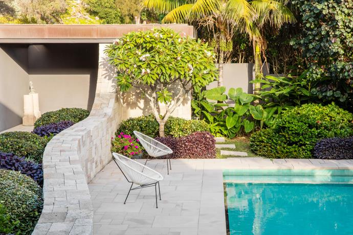 The poolside is paved in sandstone and includes frangipani, native lily and alternanthera planted alongside.