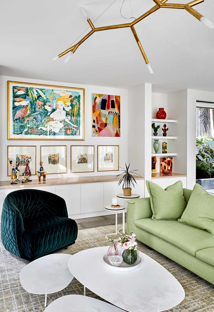 """**Living room** [Gallery-style walls](https://www.homestolove.com.au/how-to-create-an-art-gallery-wall-4860
