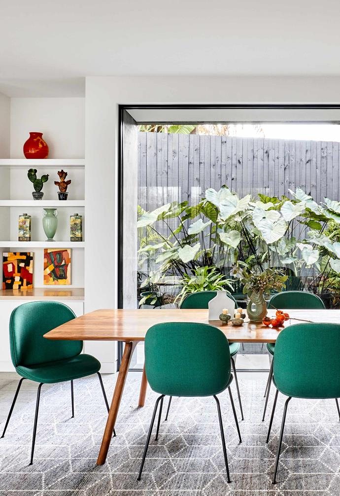 """**Dining** A base of bright white meant that the walls and other surfaces could take a lot of colour. Dining table, [Alex Earl](http://www.alexearl.com.au/