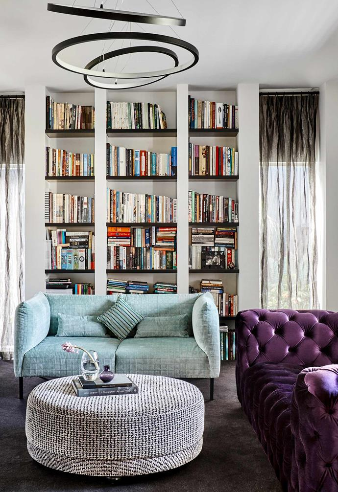 """**Sitting room** """"When Debra suggested an oversized purple velvet Chesterfield from [Cocolea](https://www.cocolea.com.au/
