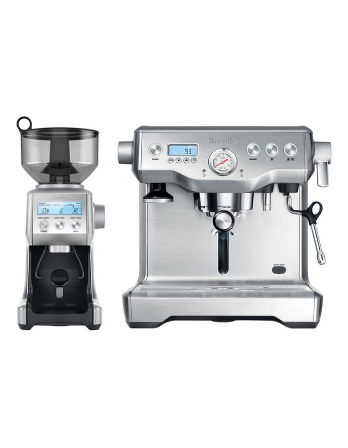 """Breville Dynamic Duo Coffee Machine and Grinder in Brushed Stainless Steel, $2199, [Myer](https://www.myer.com.au/p/breville-the-dynamic-duo-espresso-machine-bep920bss