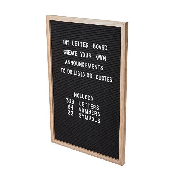 "DIY Letter Board, $13, [Kmart](https://www.kmart.com.au/product/diy-letter-board/3061321|target=""_blank""|rel=""nofollow"")"