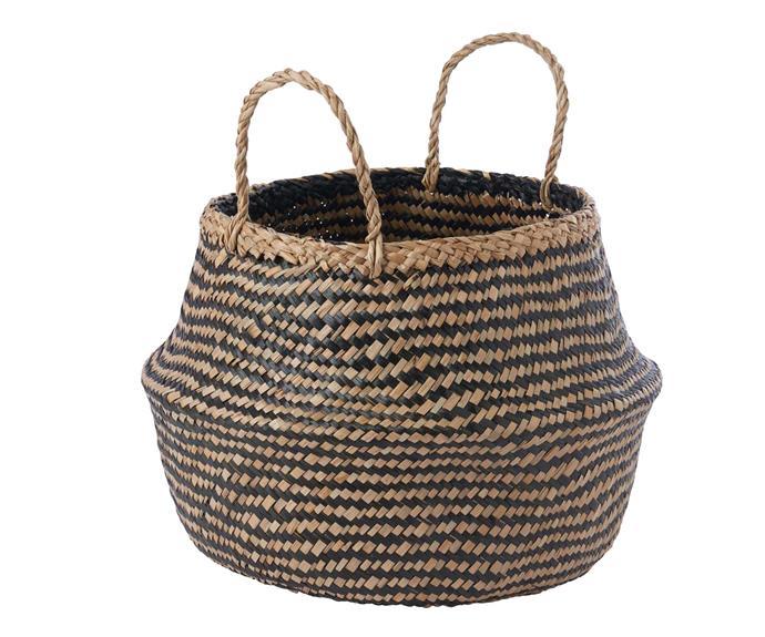 KALLIG seagrass basket, $15, [KEA](https://www.ikea.com/au/en/p/krallig-basket-seagrass-black-90461935/).