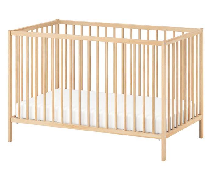 SNIGLAR cot, $129, [IKEA](https://www.ikea.com/au/en/p/sniglar-cot-birch-00468154/).