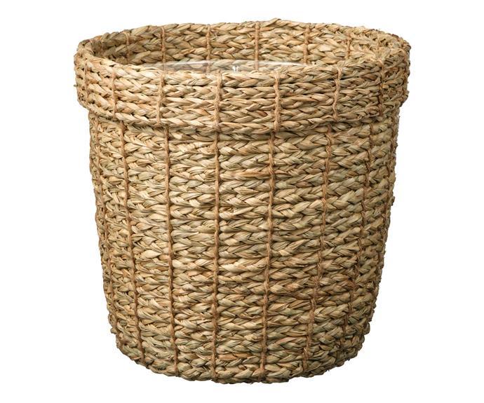 VALLMOFRON seagrass plant pot, $24.99, [IKEA](https://www.ikea.com/au/en/p/vallmofroen-plant-pot-seagrass-00473730/).