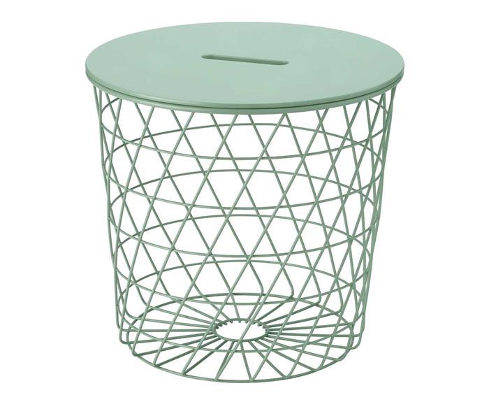 KVISTRBRO storage table, $29.99, [IKEA](https://www.ikea.com/au/en/p/kvistbro-storage-table-light-grey-green-50485325/).