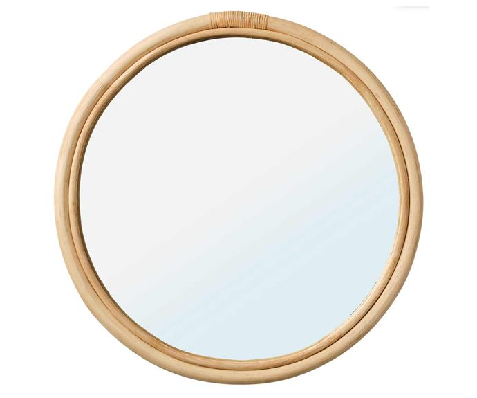HINDAS mirror, $49, [IKEA](https://www.ikea.com/au/en/p/hindas-mirror-rattan-90469154/).