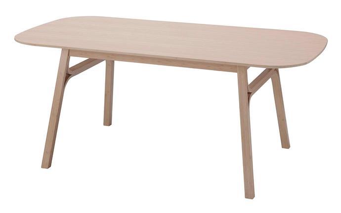 VOXLOV dining table, $299, [IKEA](https://www.ikea.com/au/en/p/voxloev-dining-table-light-bamboo-60449266/).