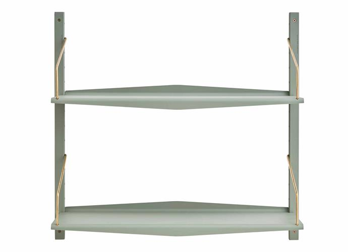 "System Ultra steel and brass wall shelf, $595, [Great Dane](https://greatdanefurniture.com/|target=""_blank""