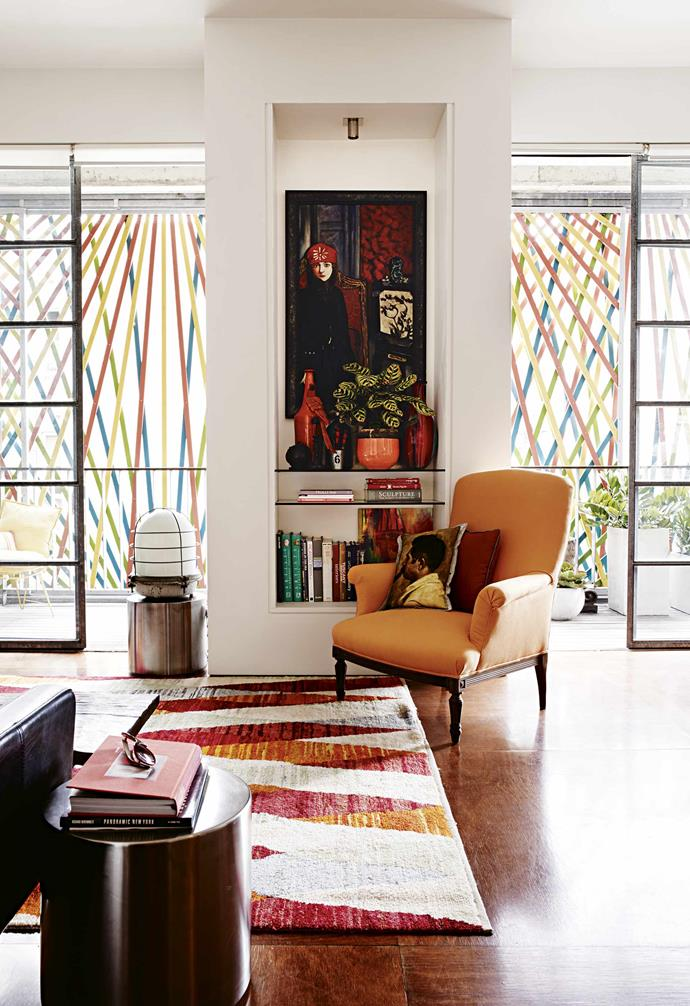 "**Star performer** The [industrial-style](https://www.homestolove.com.au/industrial-interior-design-ideas-20399|target=""_blank"") metal doors throughout the home stay true to the heritage of the building. They connect the bedrooms to the living area and create a feeling of bright, breezy space."