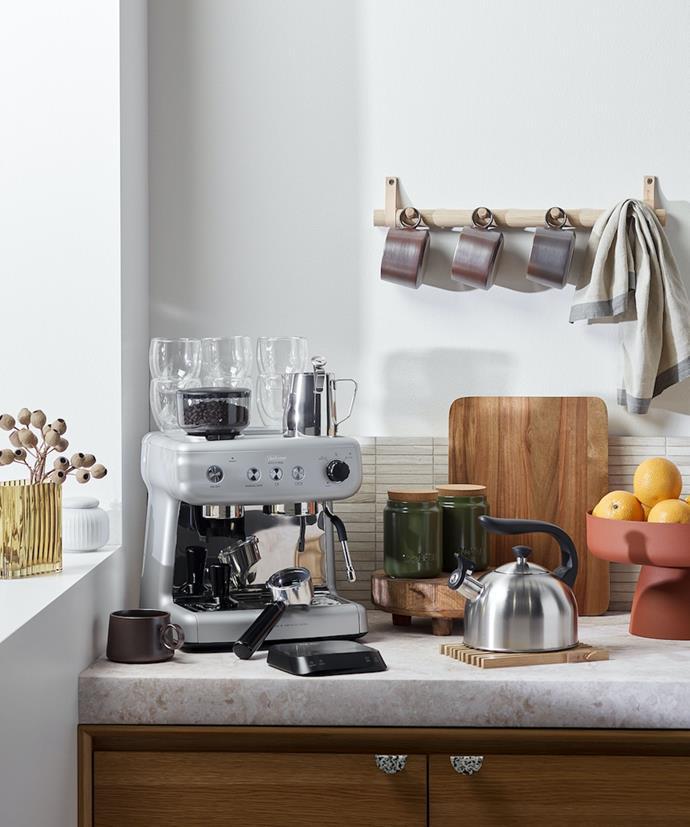 Keep all the essentials - mugs, coffee, tea, sugar - within easy reach.
