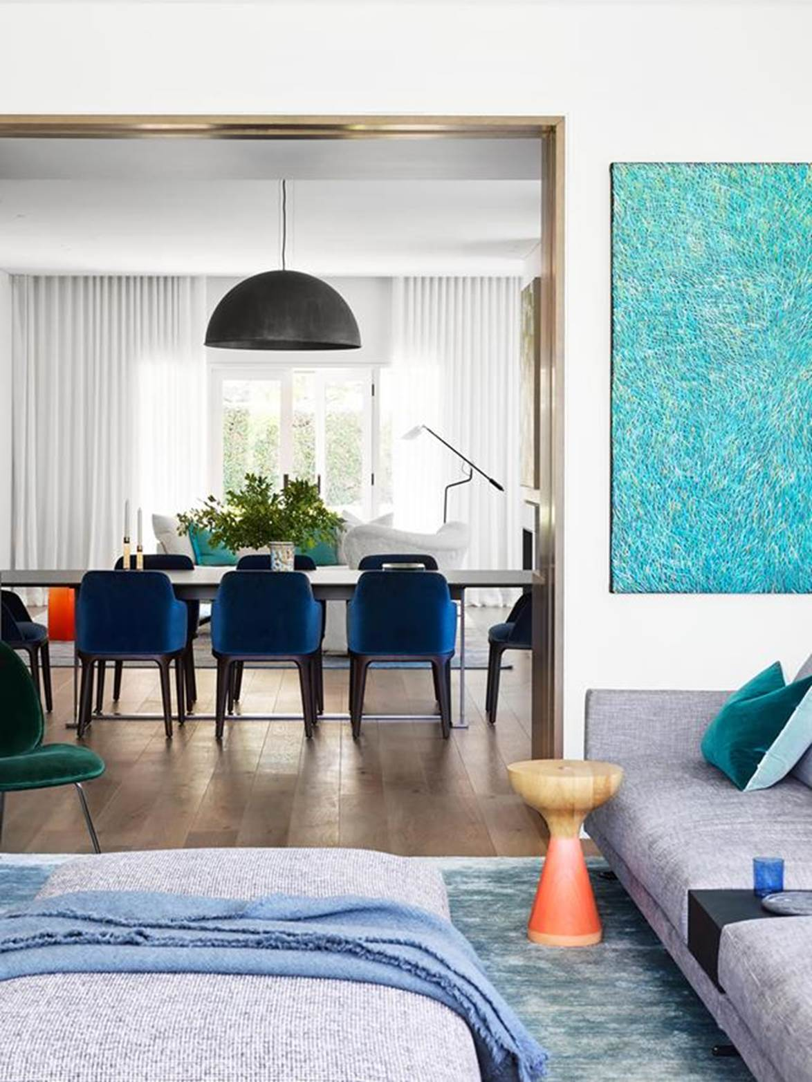 """interior designer Lisa Burdus, starting point in every room of this [contemporary home](https://www.homestolove.com.au/postwar-bungalow-turned-contemporary-family-home-21021