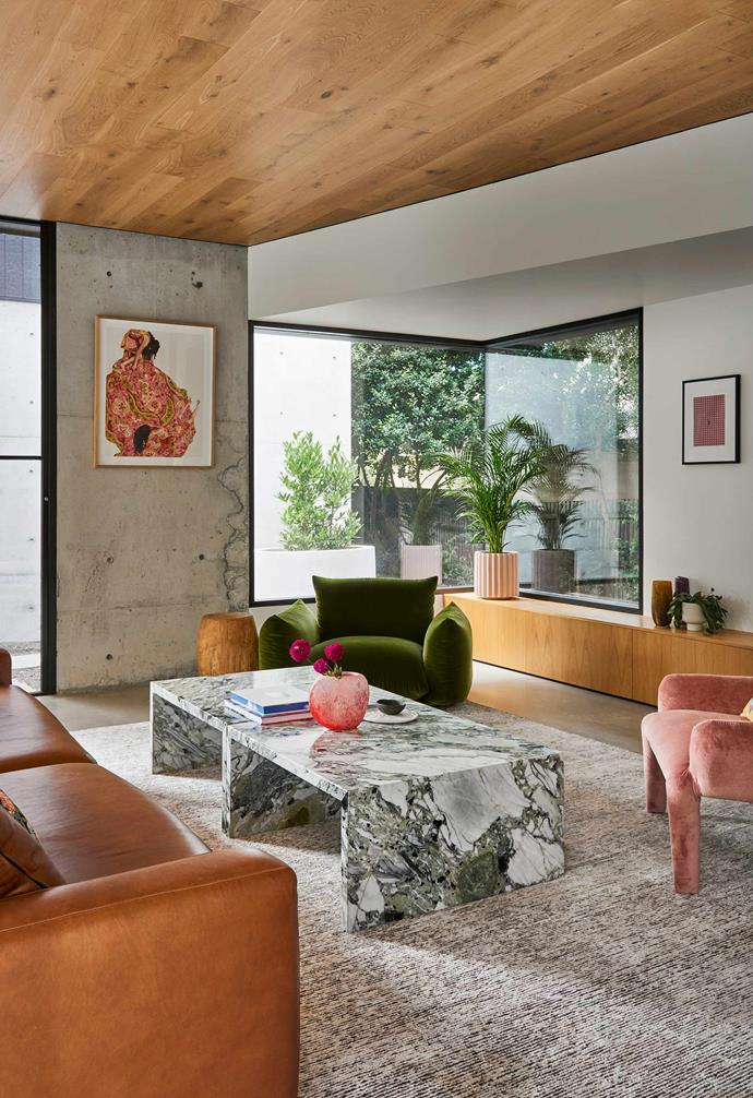 """**Living room** Concrete walls and an engineered-oak ceiling frame the space. A [Monica Rohan](https://www.instagram.com/monrohan/?hl=en