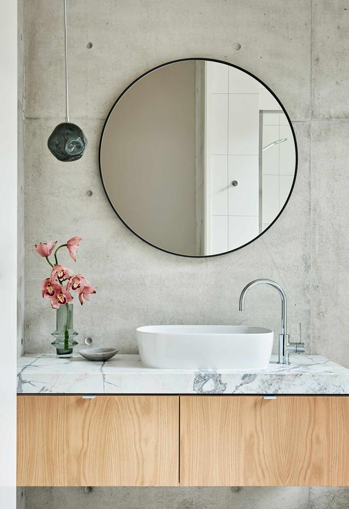 """**Powder room** A built-in vanity with Cote D-Azur marble top from [G-Lux](https://www.glux.com.au/