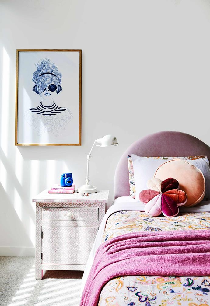 """**Jemima's room** Each of the children have their own style and Kara was keen to let that shine in Jemima's bedroom, where a custom bedhead from [Mollard Interiors](http://www.mollardinteriors.com.au/