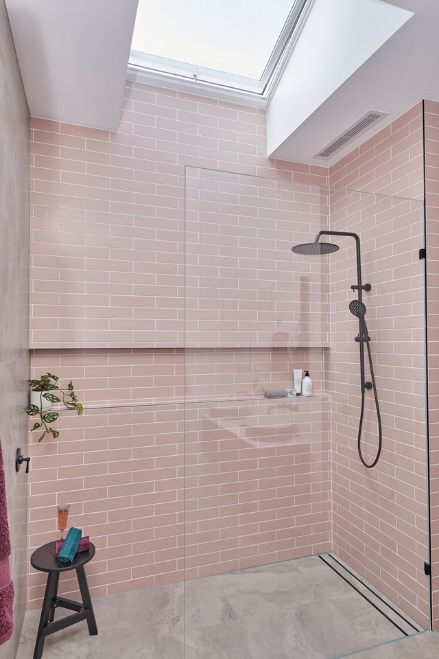 """**Week 2, Guest Ensuite** While a blush pink, black and grey palette seems very modern for a period home, the judges were blown away by Sarah and George's """"glamorous"""" take on 1940s style in their [guest ensuite](https://www.homestolove.com.au/the-block-2020-guest-ensuite-reveals-21798