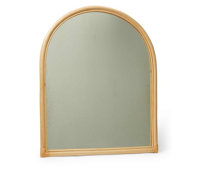 "Rattan arch mirror, $99, [Big W](https://www.bigw.com.au/product/rattan-arch-mirror-natural/p/93327/|target=""_blank"")."