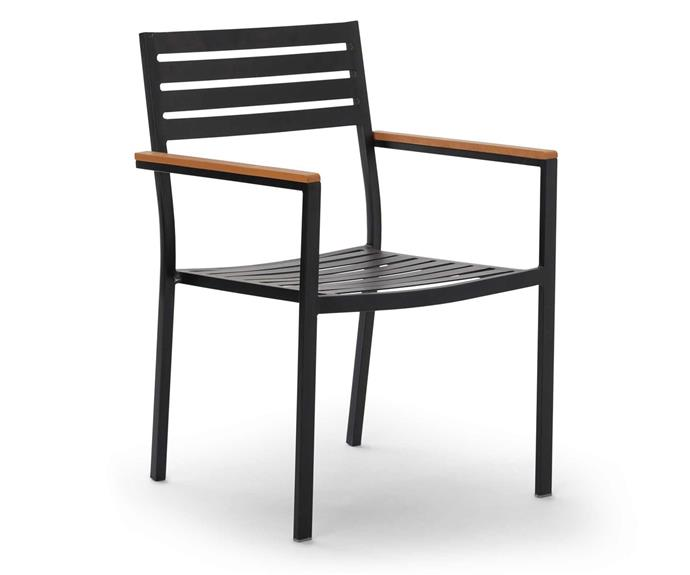 """House & Home Atlanta outdoor stacking chair, $59, [Big W](https://www.bigw.com.au/product/house-home-atlanta-outdoor-stacking-chair-black/p/101585/