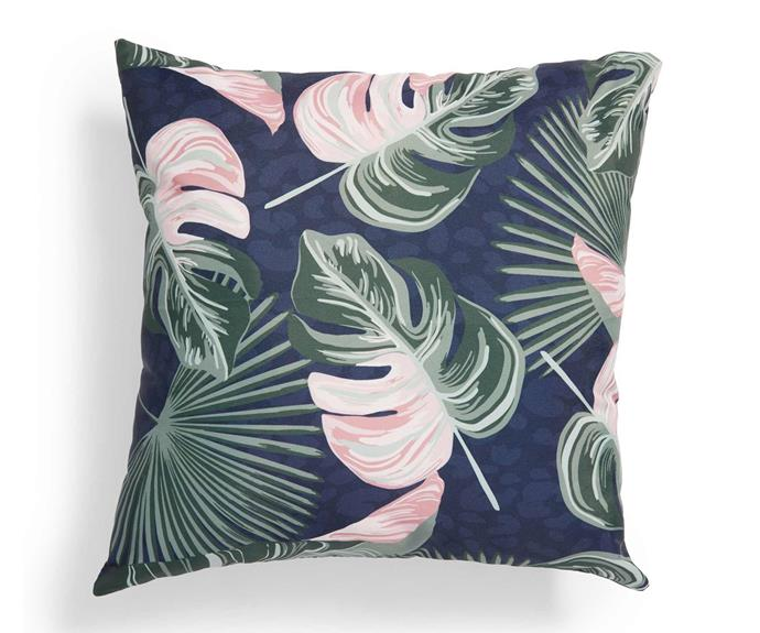 """House & Home outdoor cushion, $12, [Big W](https://www.bigw.com.au/product/house-home-outdoor-cushion-jungle/p/86773/