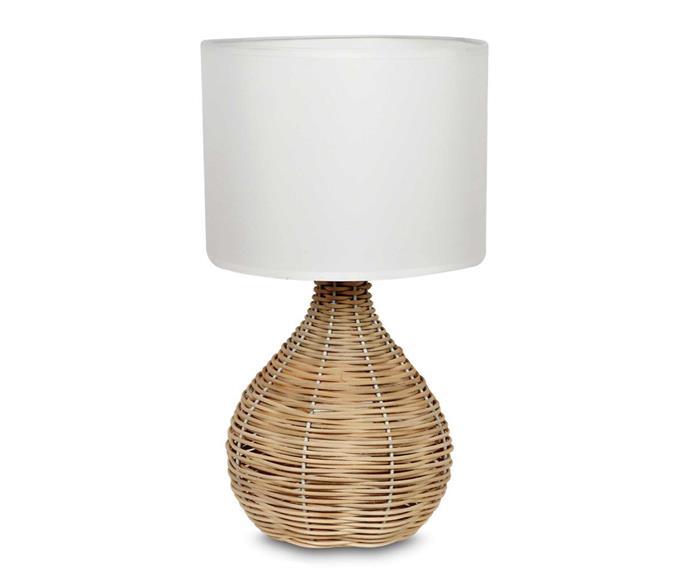 "Mirabella Odessa Rattan Table Lamp, $29, [Big W](https://www.bigw.com.au/product/mirabella-odessa-rattan-table-lamp/p/63834/|target=""_blank""|rel=""nofollow"")."