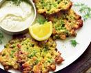Pea, zucchini and haloumi fritters