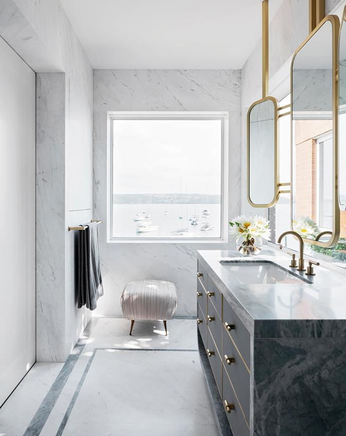 'Souffle' ottoman by Kelly Wearstler from 1stdibs sits in the main ensuite. City Plus 'Lever' tapware and towel rail, both from Brodware. Vanity in Elba marble with Laverna marble inlay, both from Granite & Marble Works.