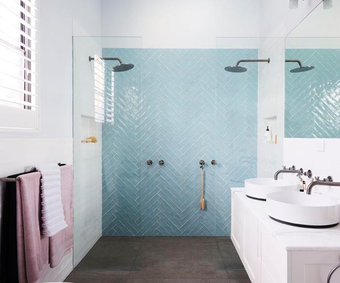 **The Block 2017: Josh and Elyse** Josh and Elyse delivered not one but *two* incredible bathrooms in the one series. With its baby blue herringbone feature wall, double shower and double vanity, their master ensuite was a total dream.