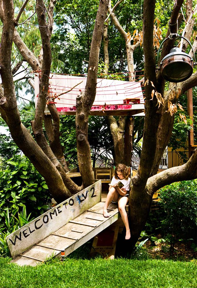 """Built in a swamp mahogany tree, treehouse was added to be the perfect retreat outdoors in the [garden of a Bondi home](https://www.homestolove.com.au/bondi-garden-brought-to-life-with-salvaged-plants-5787