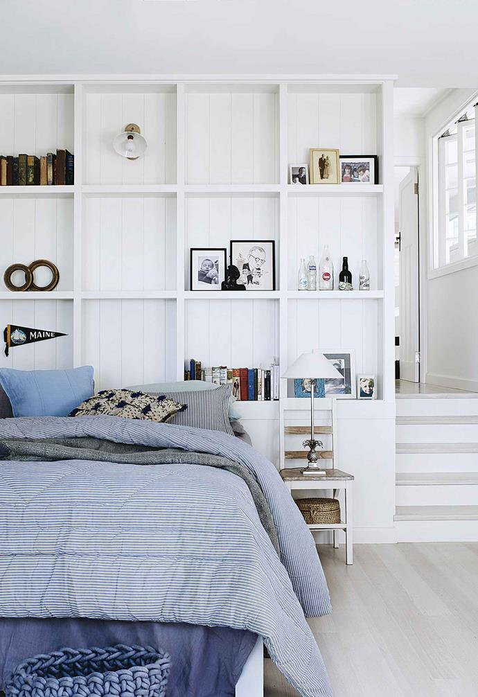 "Place built-in shelving behind your bed like the stunning and practical ceiling-to-floor shelves in the bedroom of this [Art Deco-style coastal home](https://www.homestolove.com.au/coastal-art-deco-house-18746|target=""_blank""). Not only will it create loads of extra storage space, it will only take a little more room than a bedhead. <br><br>**TIP**: A shelving design with a mix of open and covered sections will allow you to [put a few treasures you want to display](https://www.homestolove.com.au/how-to-style-a-vignette-5757